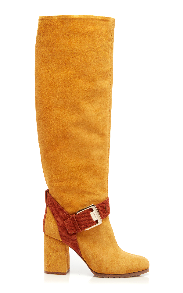 Lanvin Suede Square Buckle Knee Boot In Yellow