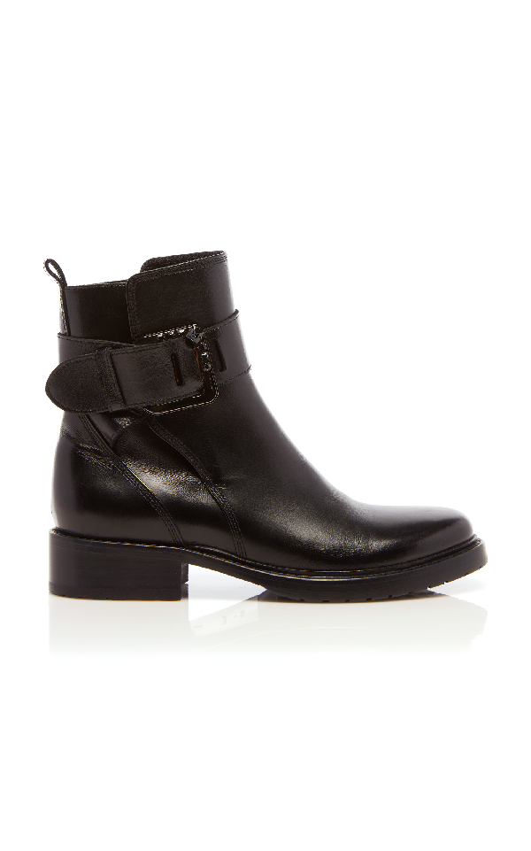 Lanvin Square Buckle Ankle Boot In Black