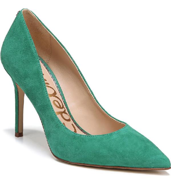 Sam Edelman Hazel Pointy Toe Pump In Jade Green Suede