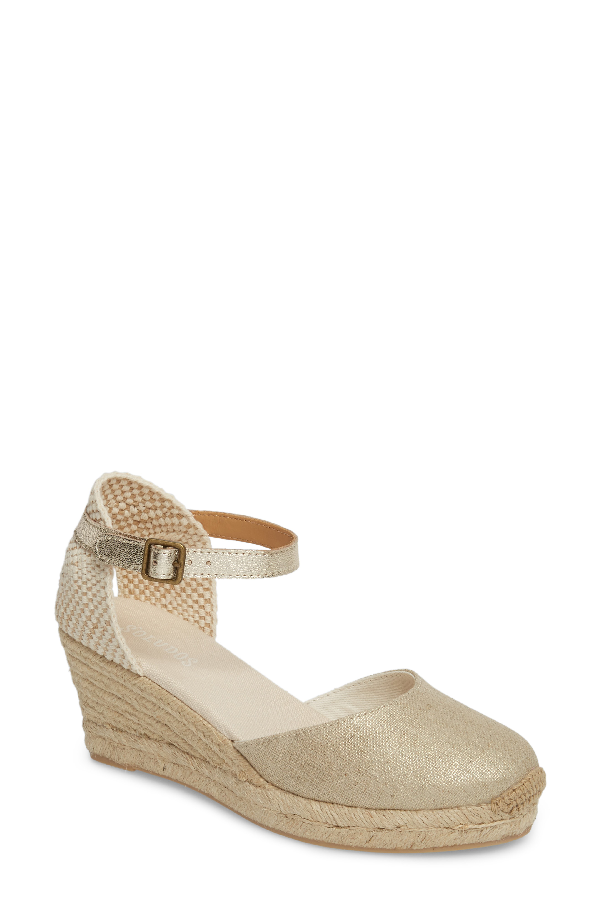 Soludos Espadrille Wedge In Platinum Fabric