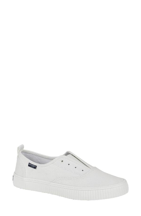 Sperry Crest Creeper Cvo Slip-on Sneaker In White Canvas