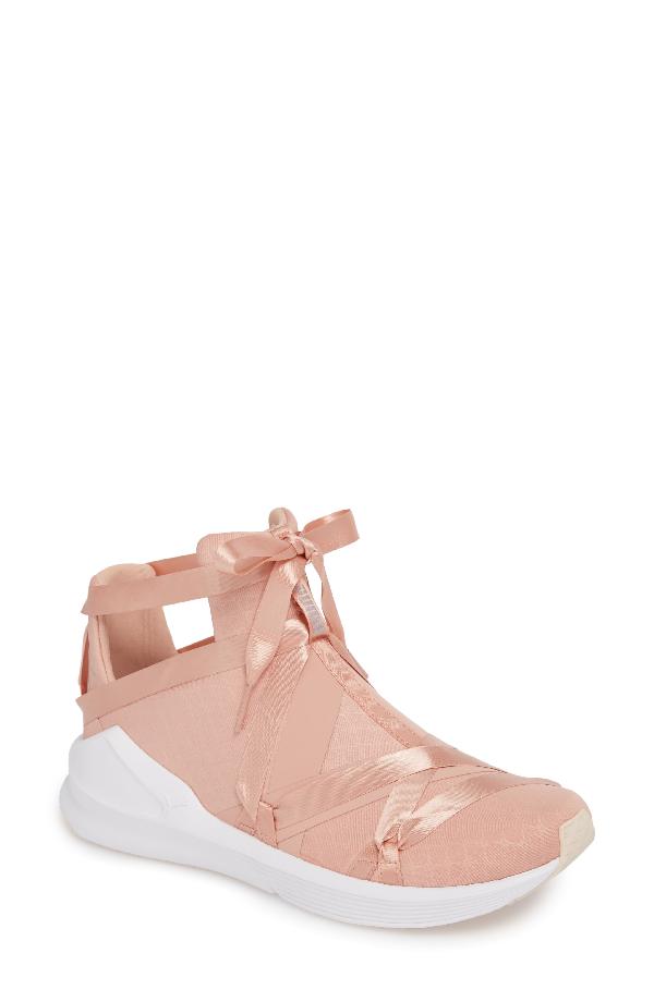 Puma Fierce Rope Satin En Pointe High Top Sneaker In Peach Beige/  White-pearl