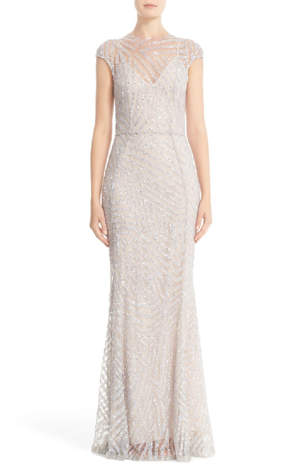 Rachel Gilbert Hand Embellished Cap Sleeve Mermaid Gown In Silver