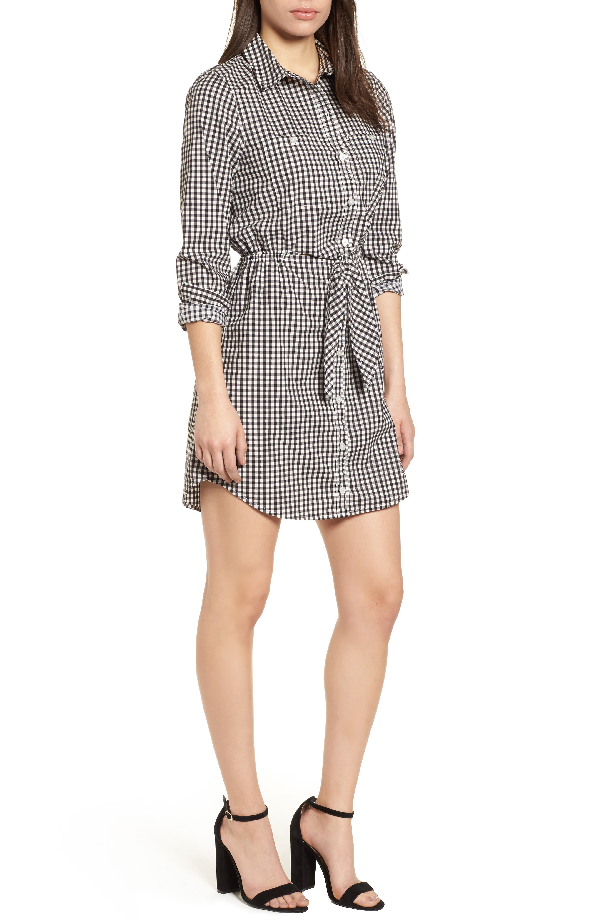 Sanctuary Tali Belted Cotton Shirtdress In Bistro Check