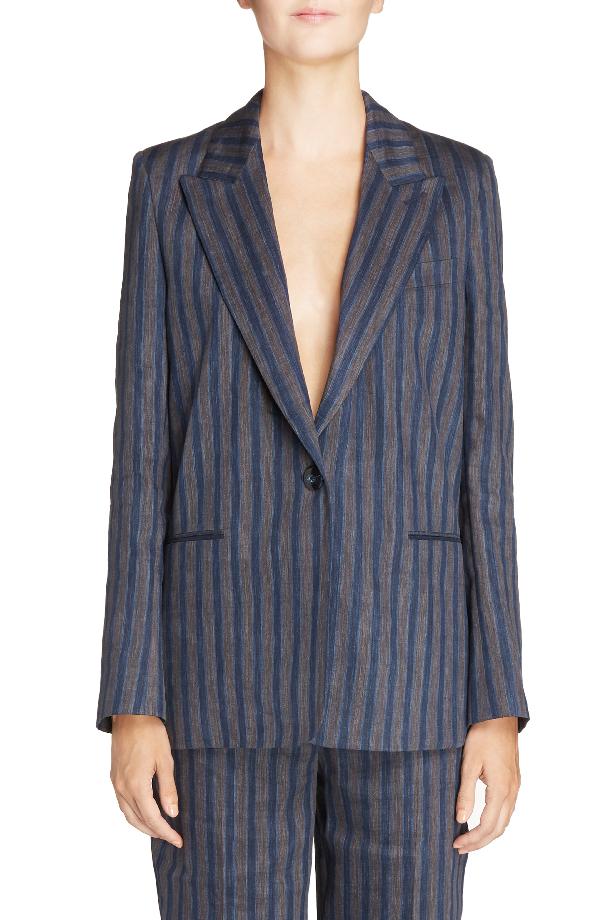 Acne Studios Krista Linen Blend Blazer In Blue/ Grey