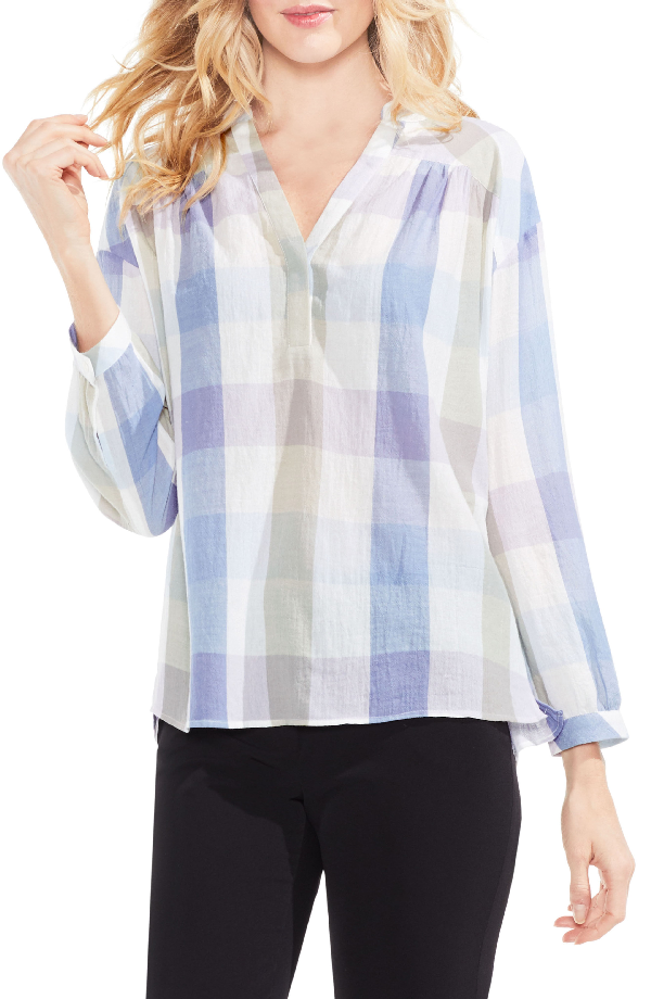 Vince Camuto Pastel Hazel Plaid Pleat Yoke Henley In Oxford Blue