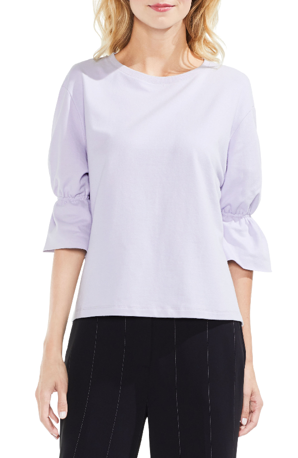 Vince Camuto Smocked Elbow Sleeve French Terry Top In Wallflower