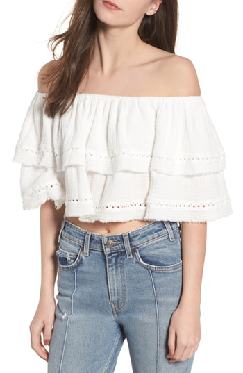 Somedays Lovin Sliding Currents Off The Shoulder Ruffle Top In Off White