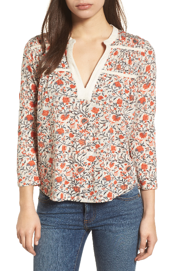 Lucky Brand Trendy Plus Size Cotton Floral-print Top In Natural Multi