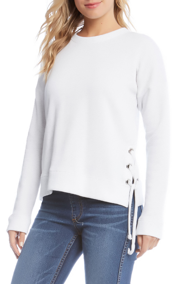 Karen Kane Side Lace-up Sweatshirt In White With Grey