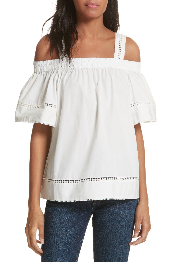Ted Baker Cold Shoulder Cotton Top In White
