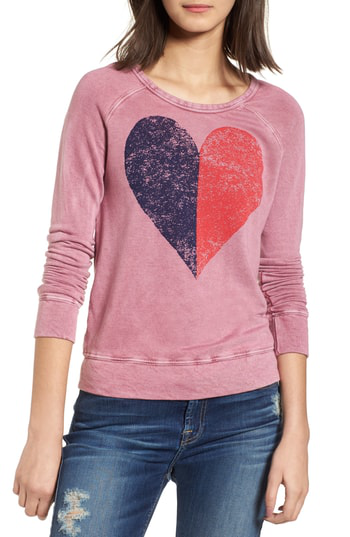 Sundry Split Heart Terry Sweatshirt In Vintage Wild Berry