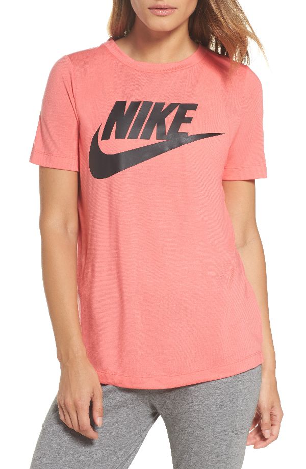 Nike Sportswear Essential Tee In Sea Coral/ Sea Coral/ Black