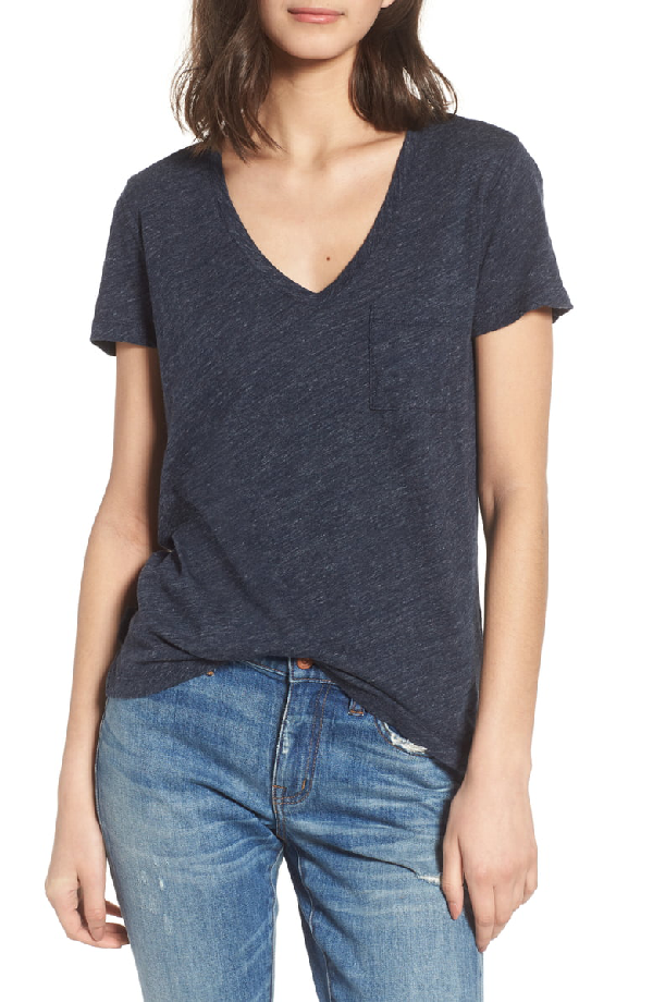 Madewell Whisper Cotton V-neck Pocket Tee In Heather Indigo