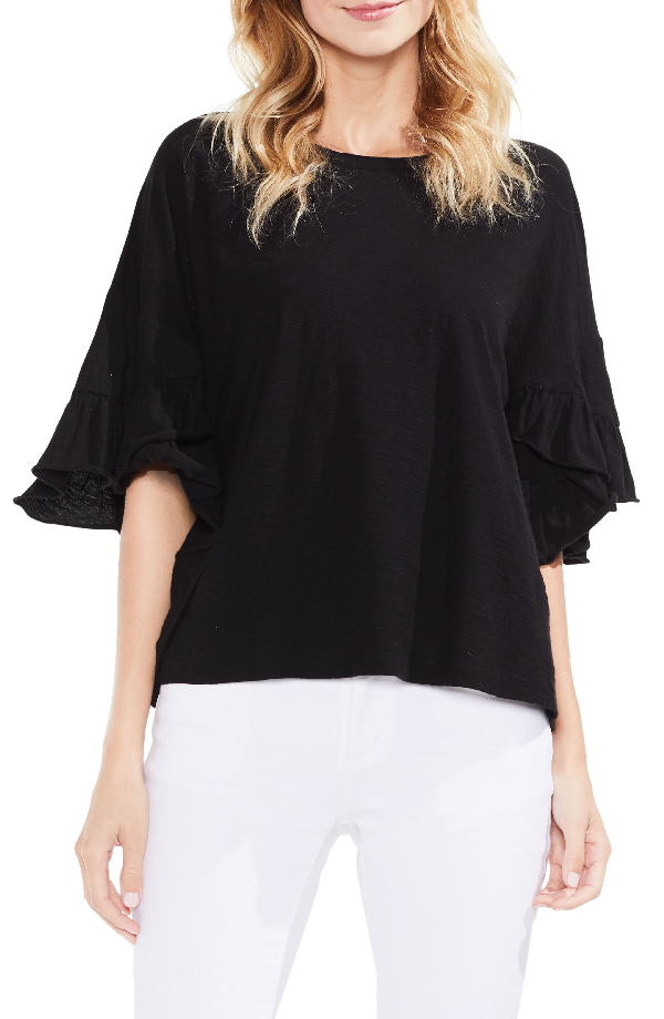 Vince Camuto Drop Shoulder Tiered Ruffle Sleeve Top In Rich Black