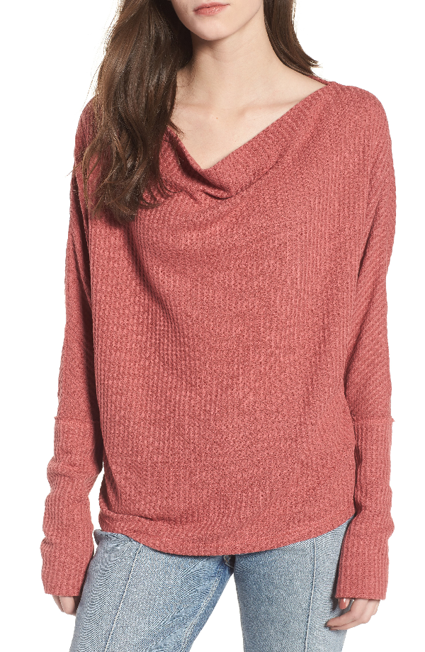 Somedays Lovin Lost Lovers Cowl Neck Top In Baked Pink