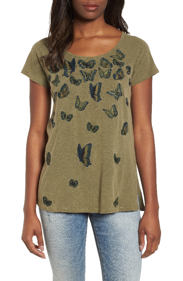 Lucky Brand Cotton Embroidered Butterfly T-shirt In Dark Olive
