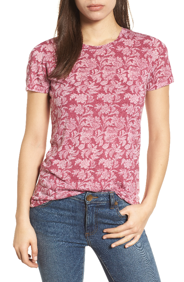 Lucky Brand Printed T-shirt In Pink Multi
