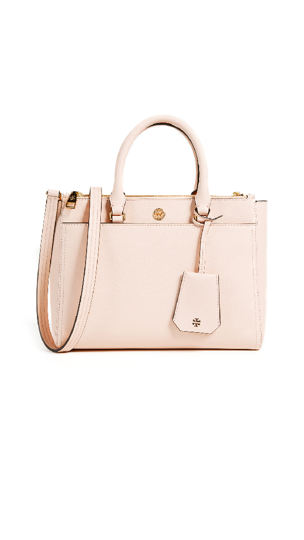 c4a228c9a09d4 Tory Burch Small Robinson Double-Zip Leather Tote - Pink In Pale Apricot  Royal
