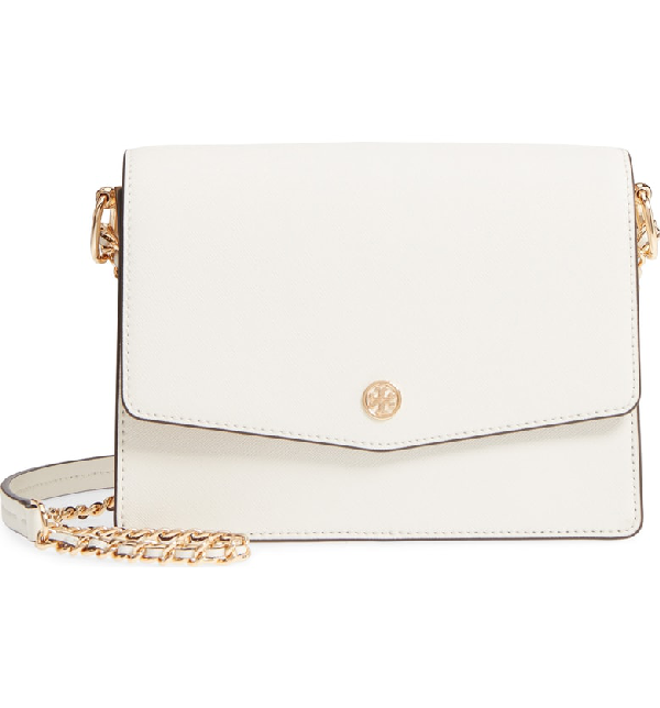 Tory Burch Robinson Convertible Leather Shoulder Bag - White In Birch / Shell Pink