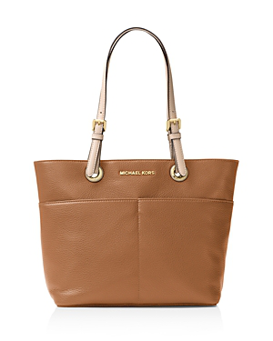 Michael Michael Kors Bedford Large Leather Pocket Tote In Acorn Brown/gold
