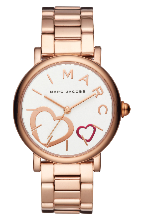 Marc Jacobs Classic Bracelet Watch, 37Mm In Rose Gold/ White/ Rose Gold