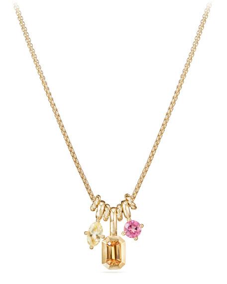 David Yurman Novella Pendant Necklace With Spessartite Garnet, Yellow Beryl & Pink Tourmaline In Multi/gold