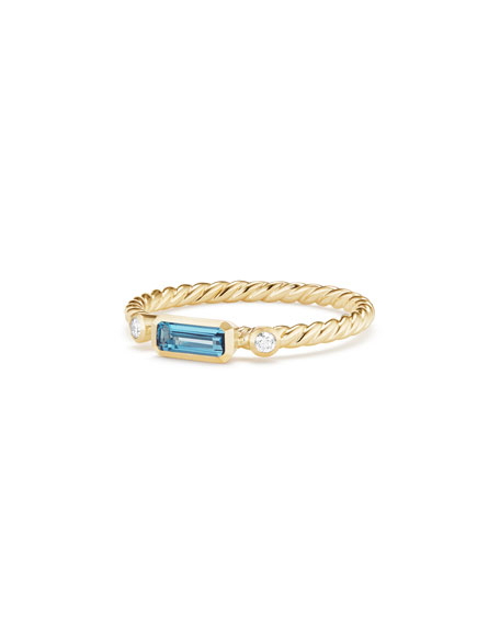 David Yurman Novella Ring In Hampton Blue Topaz With Diamonds In Blue/Gold