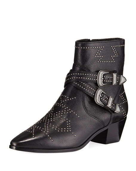 Frye Women's Ellen Leather Double Buckle Mid Heel Booties In Black