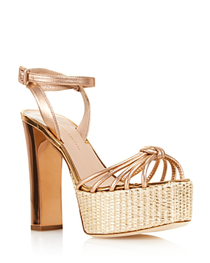Giuseppe Zanotti Women's Leather High-Heel Platform Sandals - 100% Exclusive In Ramino Gold