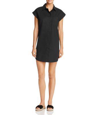 Aqua Short-sleeve Poplin Shirt Dress - 100% Exclusive In Black