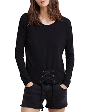 Velvet By Graham & Spencer Audrina Corset Detail Tee In Black