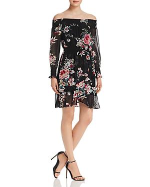 Aqua Floral Print Off-the-shoulder Dress - 100% Exclusive In Black/ivory