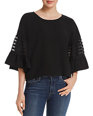 Aqua Embroidered-inset Bell Sleeve Top - 100% Exclusive In Black