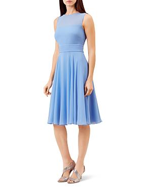 Hobbs London Ashling Pleated A-line Dress In Cornflower Blue