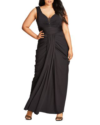 City Chic Ruched Maxi Dress In Black