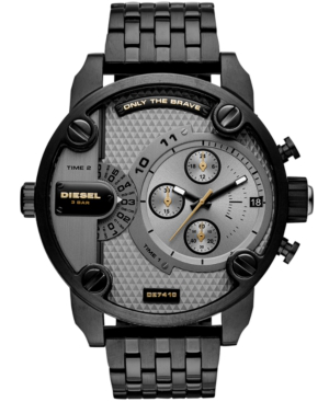 Diesel Men's Chronograph Little Daddy Black Stainless Steel Bracelet Watch 52mm