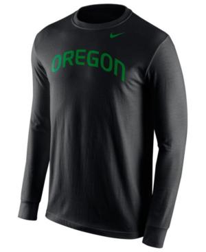 Nike Men's Long-sleeve Oregon Ducks Wordmark T-shirt In Black