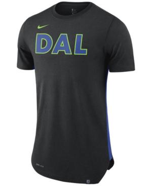 Nike Men's Dallas Mavericks Alternate Hem Short Sleeve T-shirt In Black/royalblue