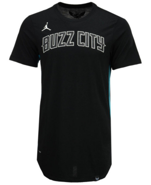 Nike Men's Charlotte Hornets Alternate Hem Short Sleeve T-shirt In Black/teal