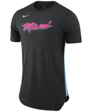 Nike Men's Miami Heat Alternate Hem Short Sleeve T-shirt In Black