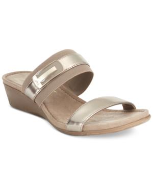 Anne Klein Sport Catchme Slide Wedge Sandals In Mushroom