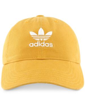 Adidas Originals Adidas阿迪达斯三叶草棉质宽松帽子 In Tactile Yellow/ White