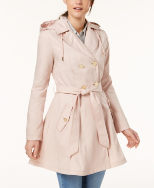 Laundry By Shelli Segal Belted Skirted Trench Coat In Dusty Pink