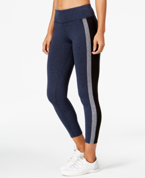Calvin Klein Performance Colorblocked Yoga Leggings In Black/slate Heather