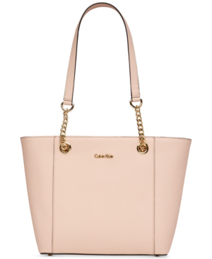 Calvin Klein Hayden Saffiano Leather Large Tote In Desert Taupe