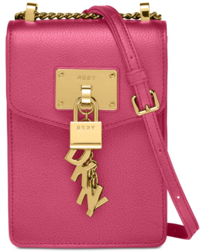 Dkny Elissa Pebbled Charm Mini Crossbody, Created For Macy's In Pink