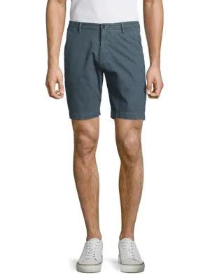 Hugo Boss Rice Cotton-blend Textured Shorts In Navy