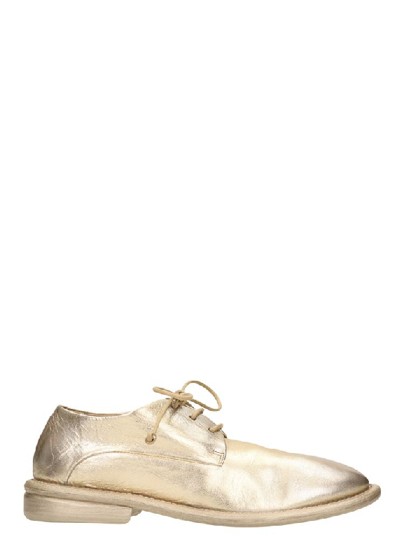 MarsÈll Cetrolio Platinum Leather Loafers In Gold