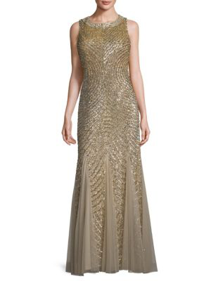 Aidan Mattox Embellished Circle-back Godet Gown In Light Gold